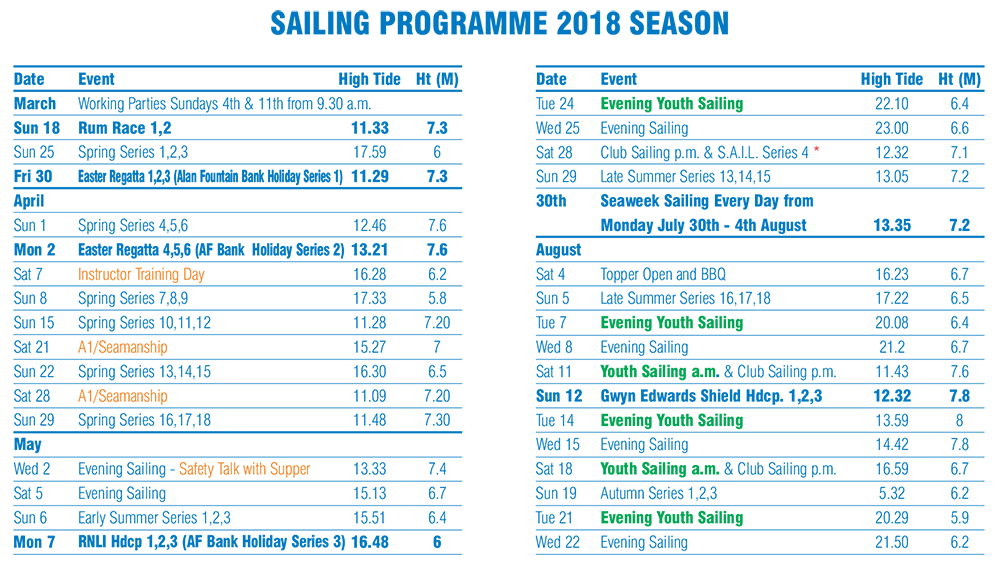 Hastings sailing Programme page 1